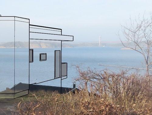 Linus egen ritning. Ett av målen var att huset, sett från gatan, ska upplevas sväva ut över havet.