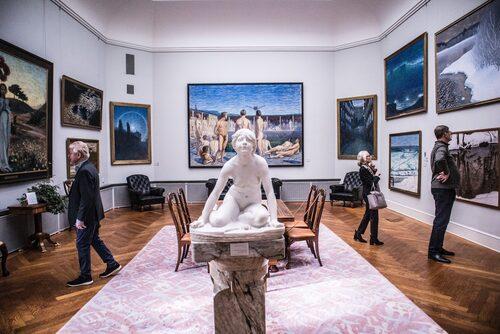 En majoritet av Thielska galleriets samlingar kommer från konstmecenaten Ernest Thiels egna samlingar från förra sekelskiftet.
