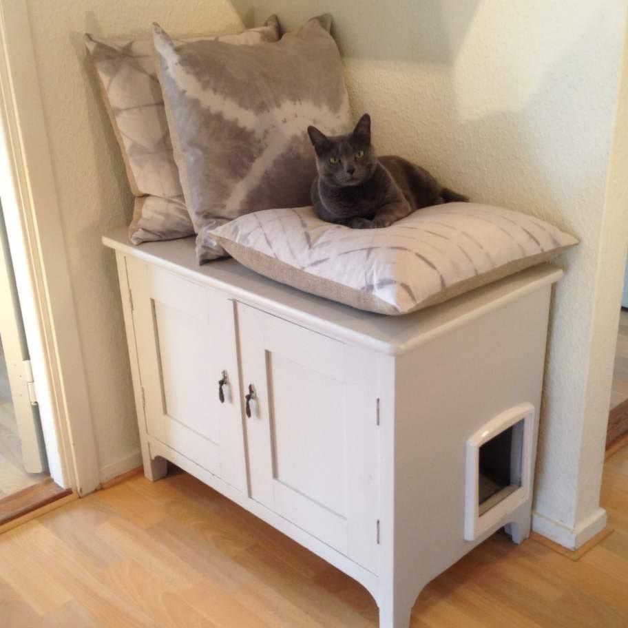 Ulrica Green tyckte att de traditionella kattlådorna var tråkiga. I stället gjorde hon om ett fint skåp. Även om missen här vill vara med på bild trivs den utmärkt även i.