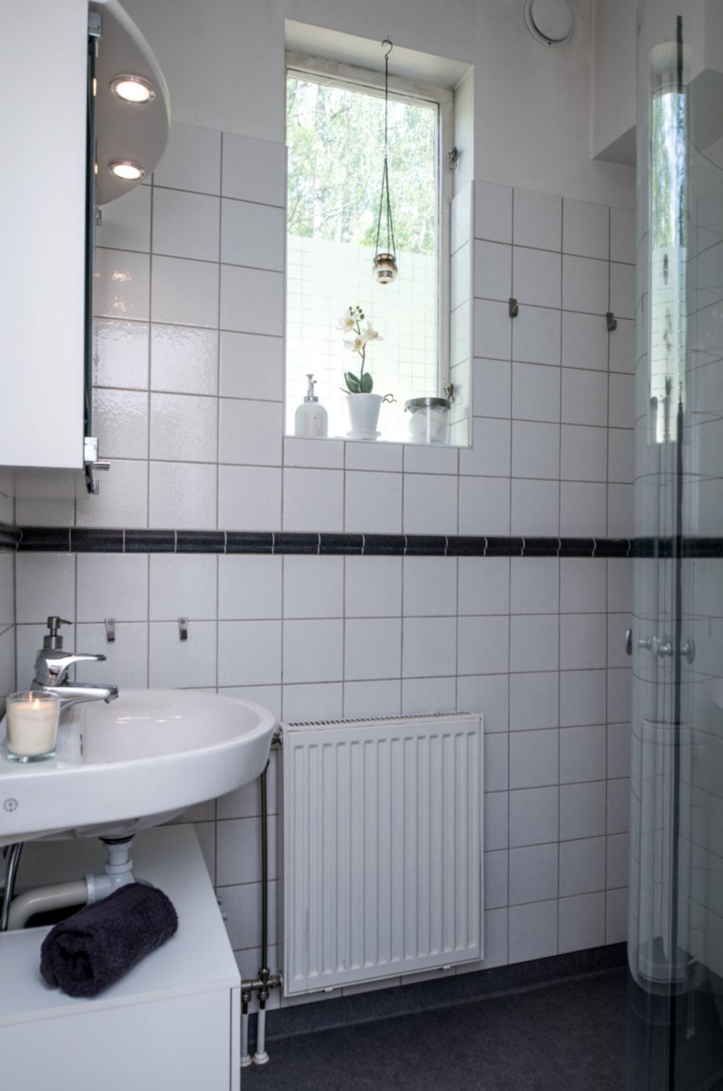 Badrum med dusch.