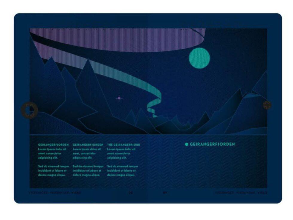 Det berömda norrskenet lyser över uppslaget när det utsätts för UV-strålar.