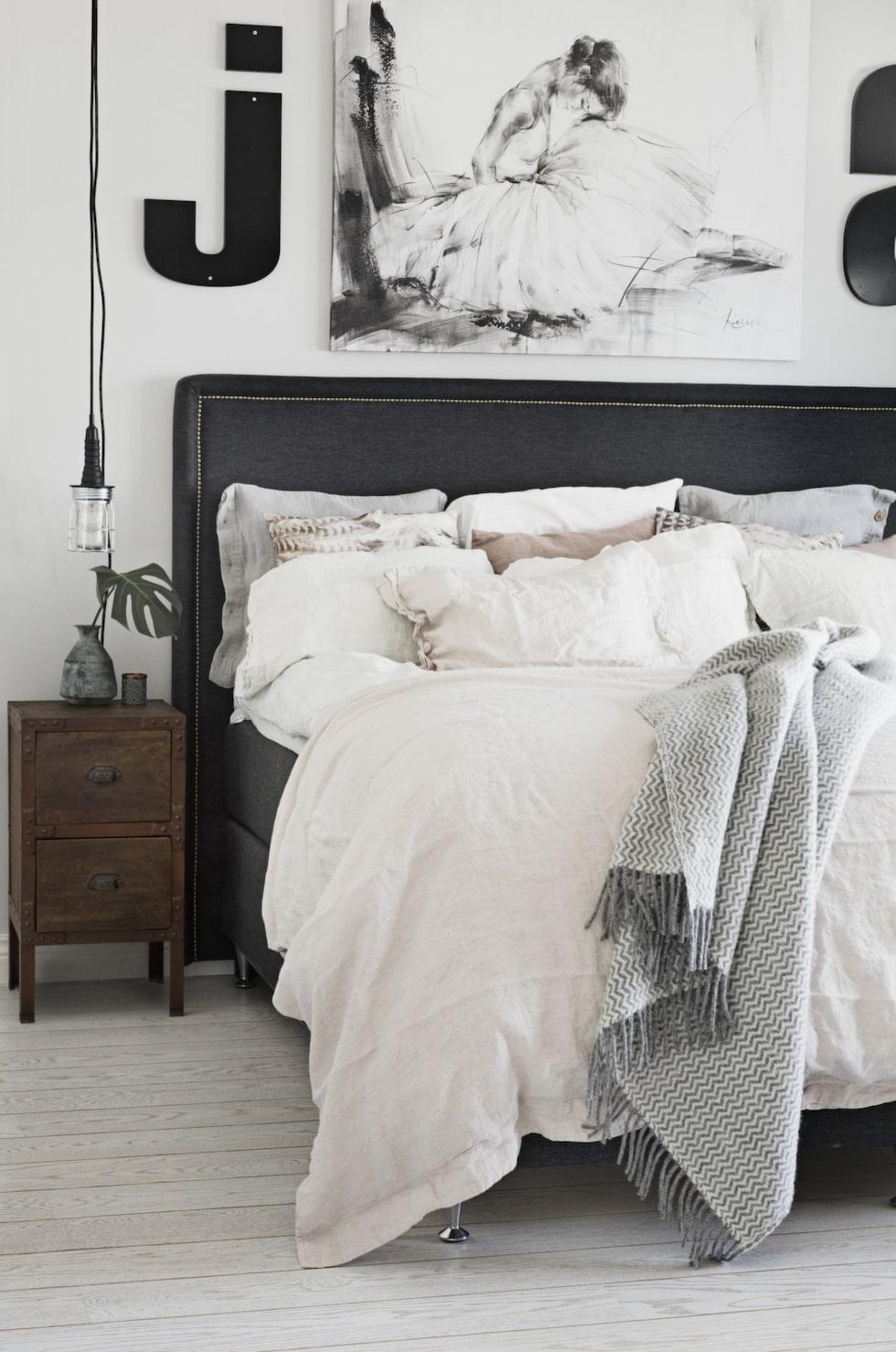 Industrilampa från Granit. Tavla från Mio. Sängbord i återvunnet trä från Myhomemyway.se. Sängkläder från Dirty linen, sminkbord från Chilli möbler och matta från House doctor. Stol inropad på auktion.