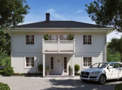 BALANS VALM - En välplanerad tvåplanslåda med New England-karaktär. TYP: 2-planhus med fem rum och kök på 155 kvadratmeter. PRIS: 2 000 000 kronor 12 903 kronor  kvadratmetern. HUSFÖRETAG: Eksjöhus www.eksjohus.se