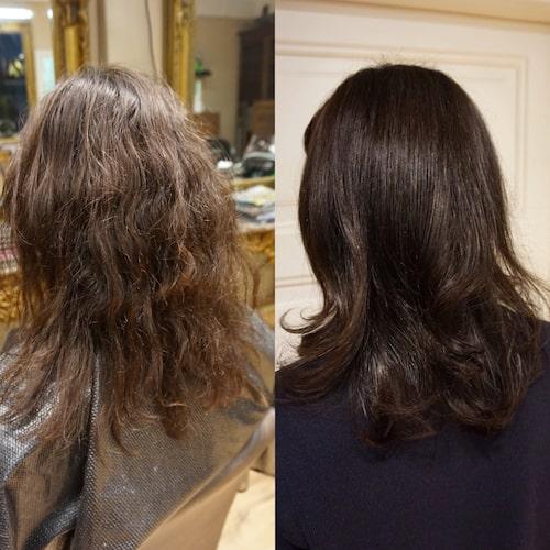 Före och efter salongsbehandling med Olaplex