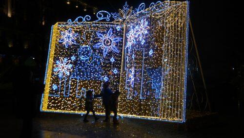 Julbelysning i Warszawa.
