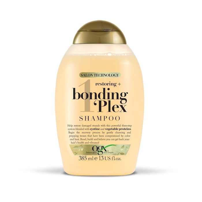 Bonding plex-serien från OGX är för hemmabruk och innefattar schampo, balsam och en leave in-produkt.