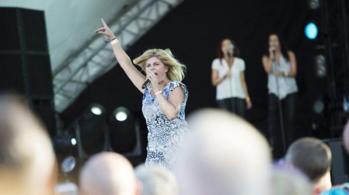 Pernilla Wahlgren under Pride-festivalen 2014.