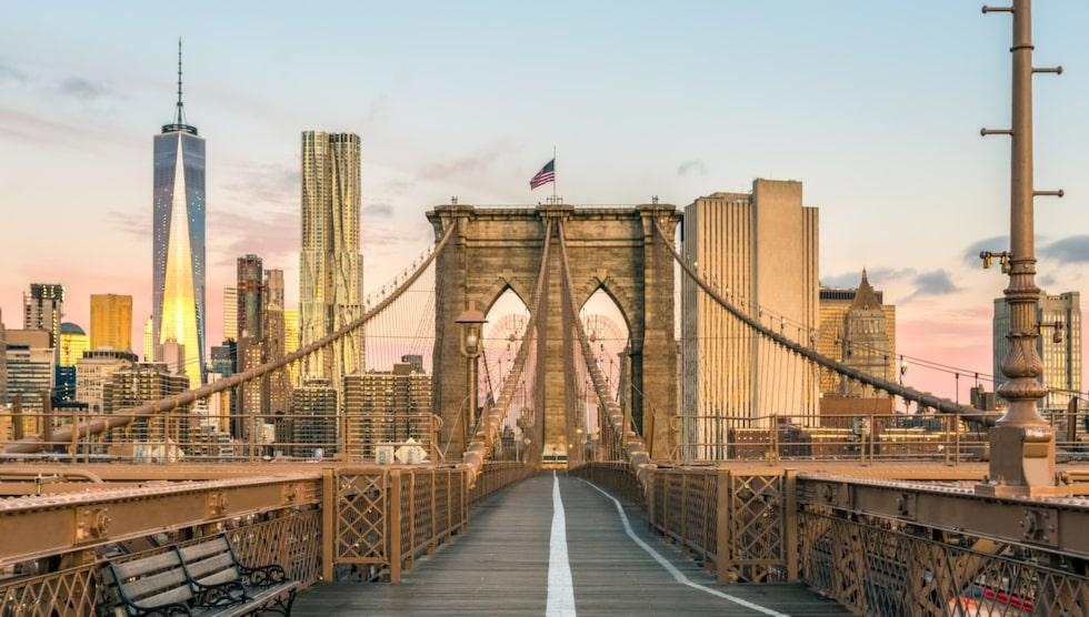 Frestande selfievy med Manhattan i bakgrunden.