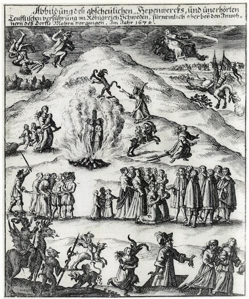 Tyskt kopparstick från 1670 som föreställer häxprocessen i Mora. Vid bålet där de dömda kvinnorna brinner, syns häxor som för bort barn på sopkvastar.