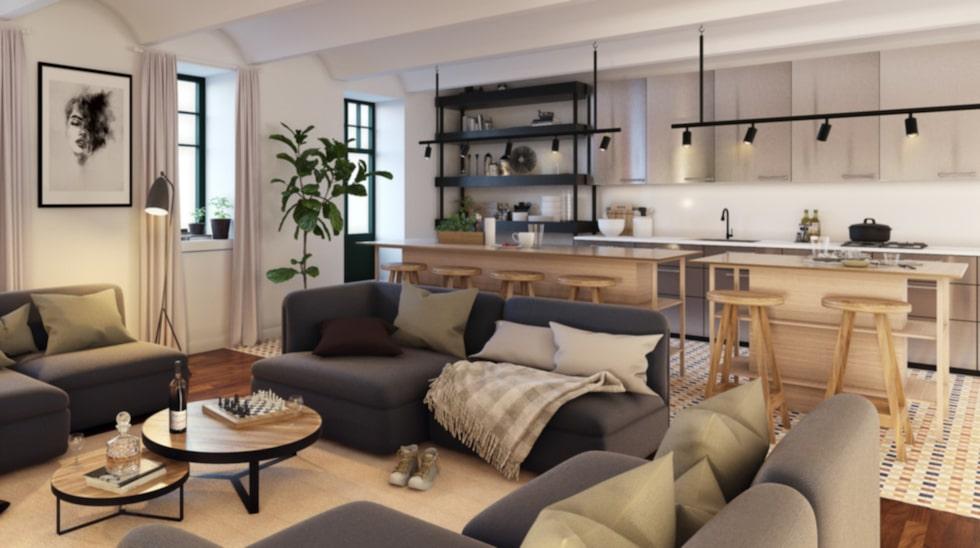 """Ett gemensamt kök/vardagsrum finns också i huset. """"Tanken är att man ska kunna umgås utanför de små lägenheterna också"""", säger mäklaren Håkan Lundqvist på Alexander White."""