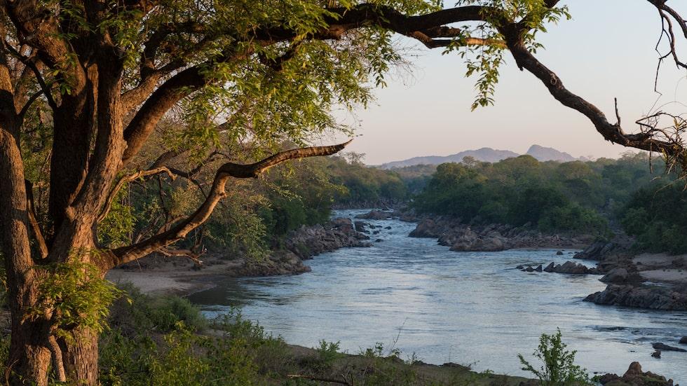 Malawi: Morgonutisk från en av de få lodgerna i Majete, belägen precis vid floden.