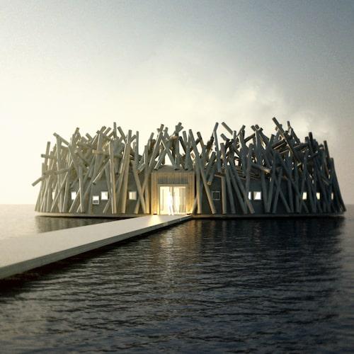 Arctic Baths arkitektur är inspirerad av timmerflottningen förr.