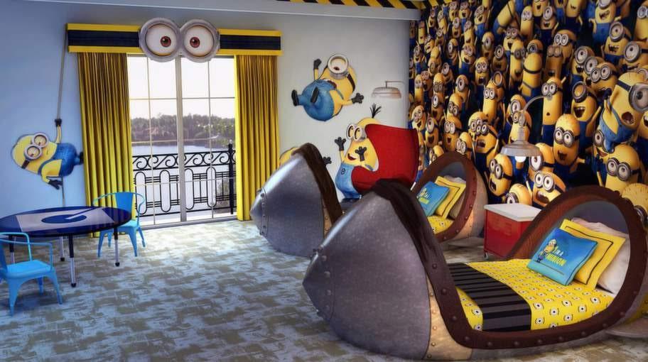 """Det här rummet med tema """"Dumma mej""""-minionerna är faktiskt mer kul än hemskt. Men möjligen lite over the top..."""