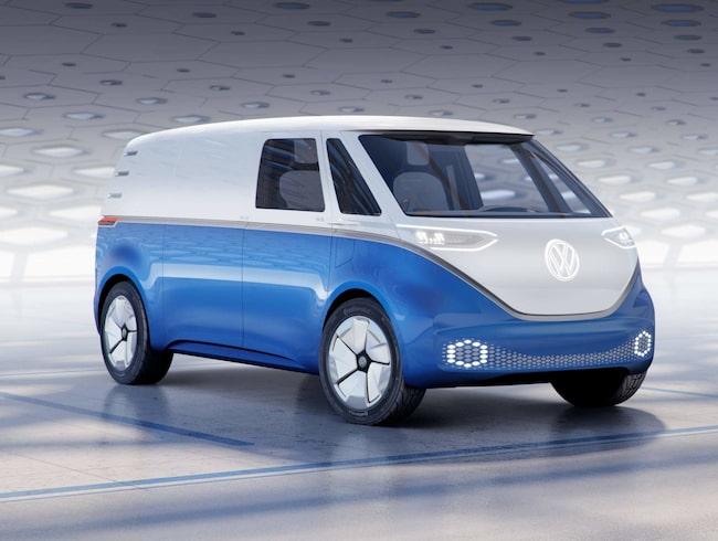 """Volkswagens konceptbil kallas I.D. Buzz och nu ska den eldrivna """"folkabussen"""" fungera för hantverkare också."""