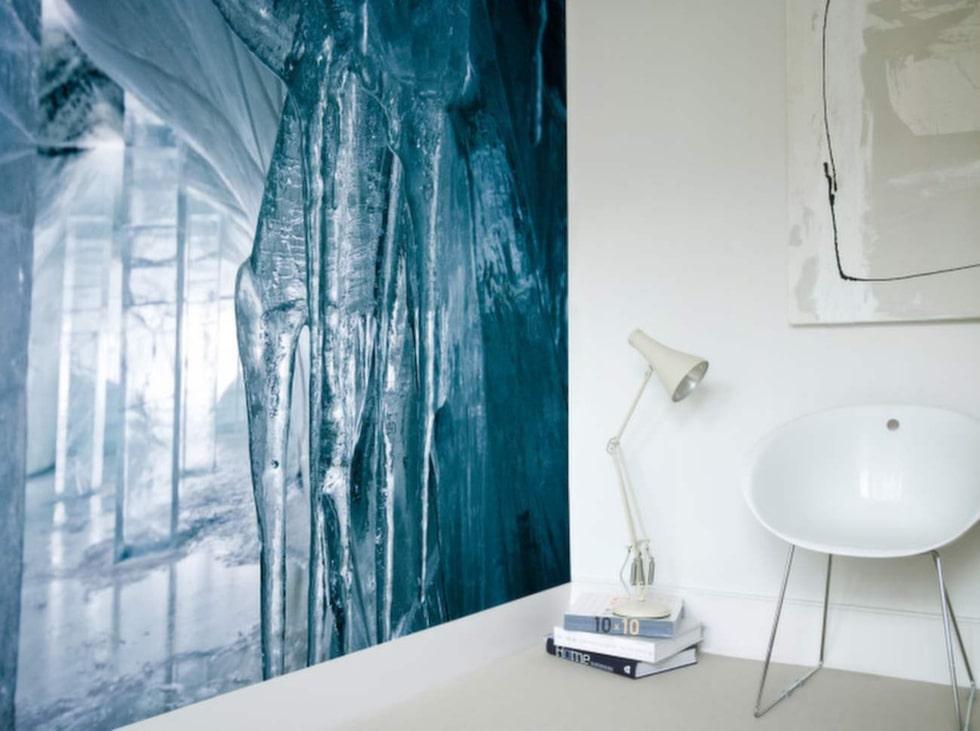 Isande. Photowall samarbetade med Icehotel och fick ett spännande motiv med soluppgång över Torneälven.