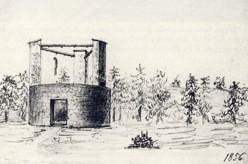 Galgbacken utanför Skanstull, skiss från 1856.