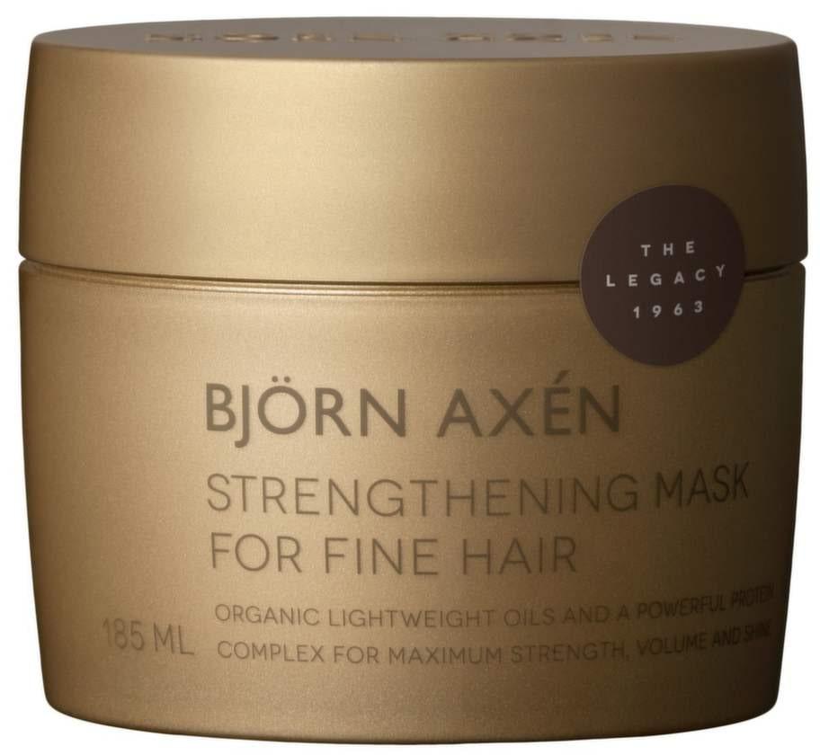 Nytt liv. En hårkur med vårdande ingredienser som återfuktar, bygger upp och stärker hårstrået inifrån. Strengthening mask for fine hair 360 kronor/185 ml,<br>Björn Axen. bjornaxen.se