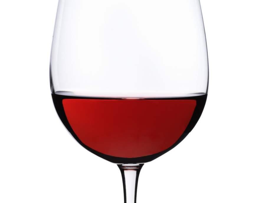 Stort glas rött vin, 0,25 tsk.