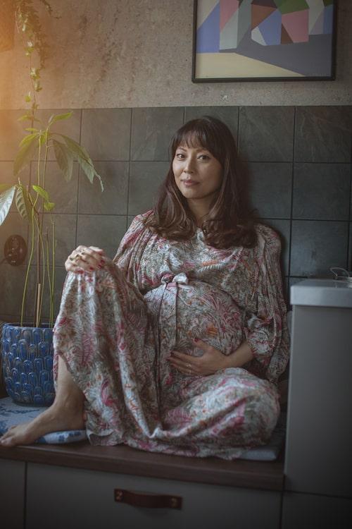 När Lisette var gravid med Lou.