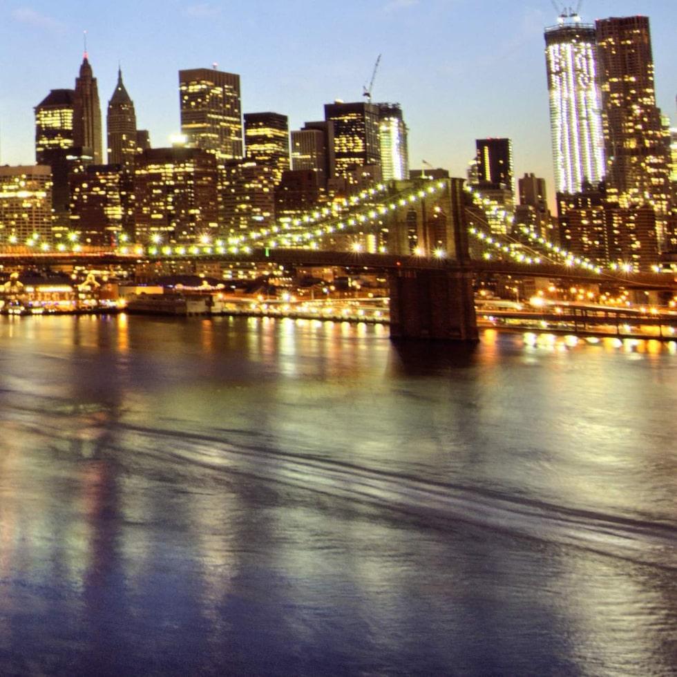 new york city - manhattan skyline at winter sunset - usa