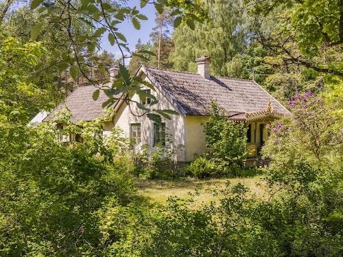 Dolt bland träd och buskar ligger det charmiga lilla huset.
