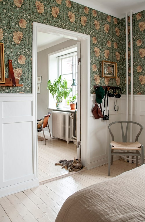 Katten Margot vilar sig i dörröppningen mellan sovrummet och vardagsrummet. Grå pinnstolen, second hand. Trähängare, Fritsla Tyglager. Guldram från Gnosjö Hjälper. Tapet, Pimpernel Bayleaf Manilla, William Morris & Co.