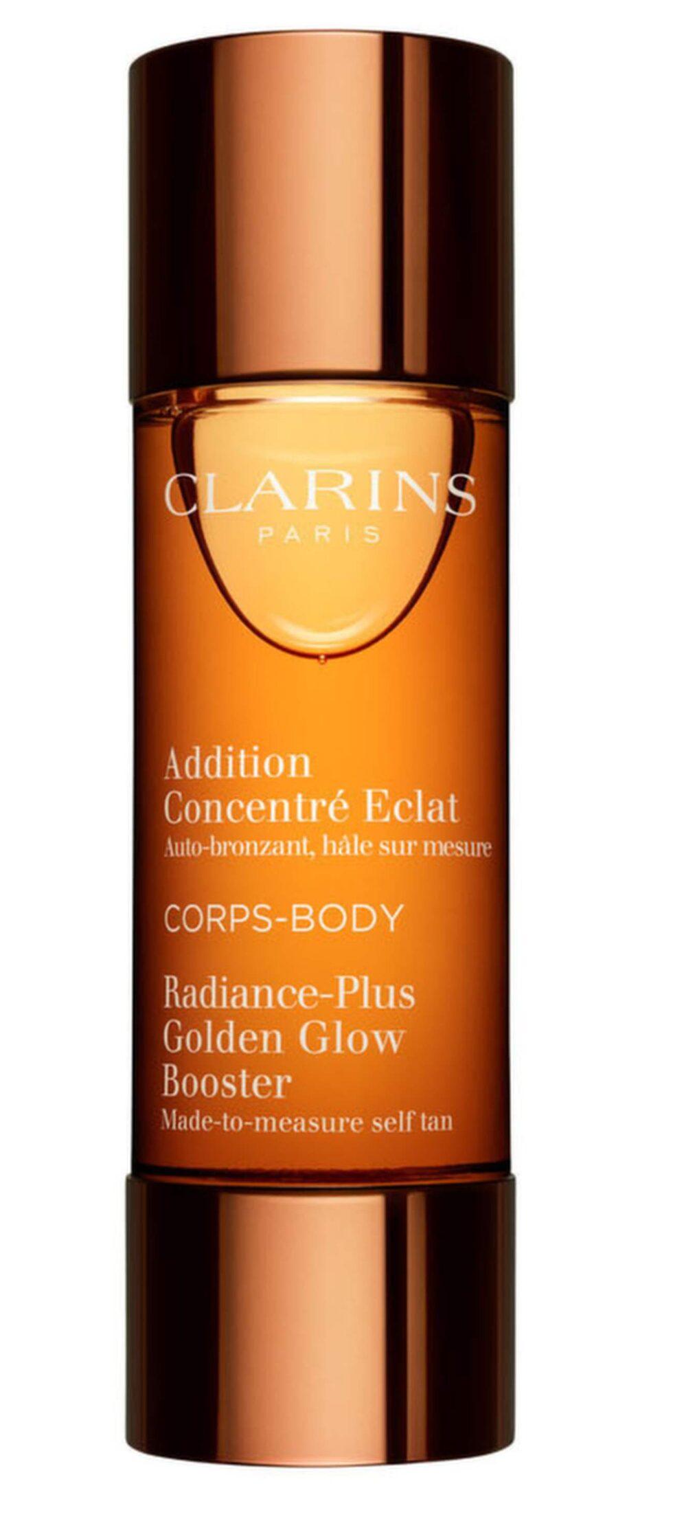 <p>Bonustips!<br>Enkel att använda, ger ett jämnt resultat och återfuktar huden utan att ge en obehaglig doft. Blanda dropparna dagligen i den vanlig dagkrämen eller i din bodylotion.<br>Radiance plus golden glow booster body, 395 kronor/30 ml, Clarins, Kicks.se.</p>