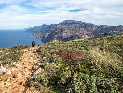 Tramuntanas berg i blickfånget under vandringen från Sant Elm till La Trapa och Coll de Sa Gramola.