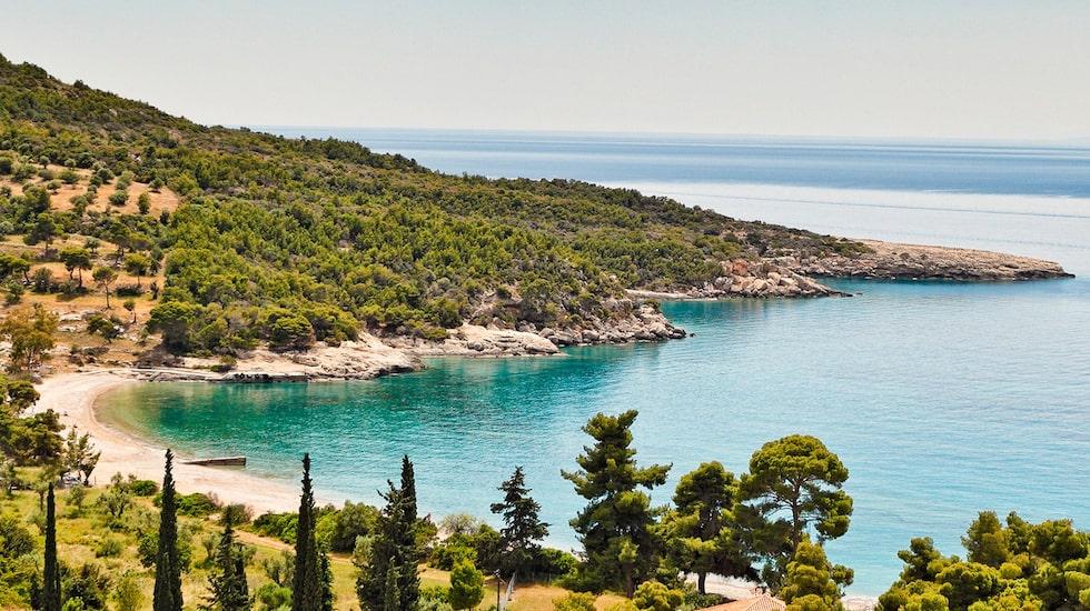 Stranden Agioi Anargyri på ön Spetses.