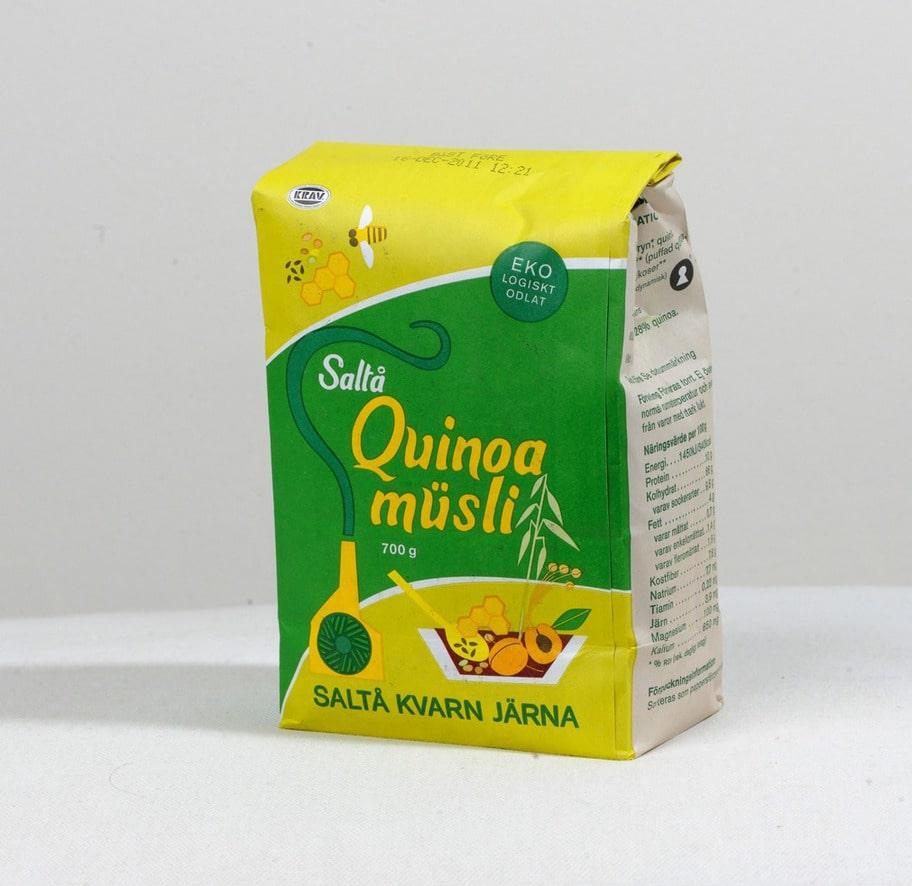 5 getingar. Märke: Quinoa-müsli, Saltå kvarn. Pris: Cirka 48 kronor för 700 g. Ulrikas omdöme: Det här är en toppen-müsli med 100 procent bra ingredienser! Inget tillsatt socker och enbart torkad frukt.