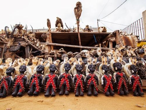 Döda djur och voododockor på marknaden i Akodessawa.