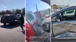 Familjebråk vid mack – bilderna visar kaoset