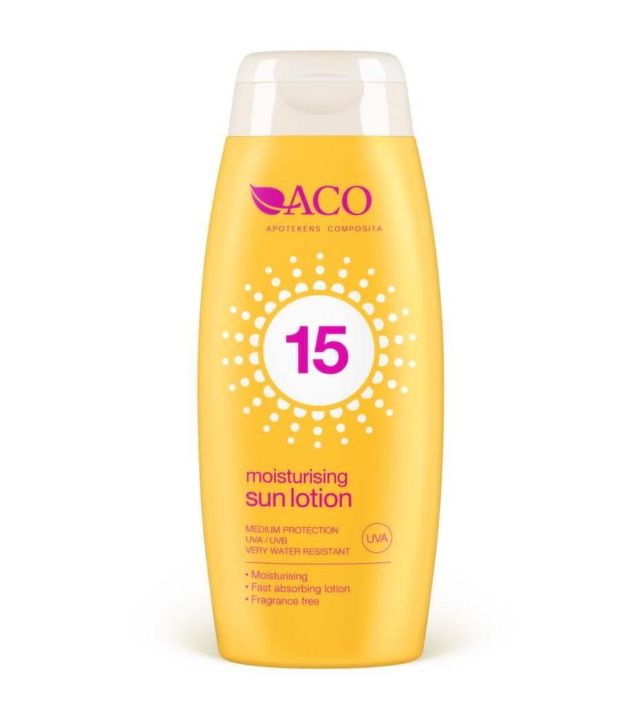 60 årKrämig och rikligt återfuktande sollotion med faktor 15. Kan användas på händer så väl som resten av kroppen. Med kemiska filter som skyddar mot UVA/UVB-strålning.Innehåller antioxidanten vitamin E. Oparfymerad.Sollotion spf 15, ACO132 kronor, apoteket.se