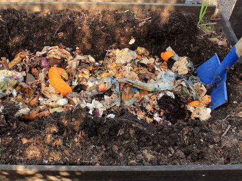 """""""I en pallkrage kan du gräva ner 15-30 kilo bokashi per år beroende på hur näringskrävande grönsaker du ska odla"""", tipsar biologen Malin Sairio."""