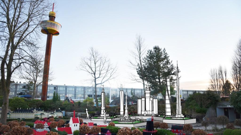 Här är de tänka att stå: Legoversionerna av bland andra Burj Khalifa och One World Trade Center.