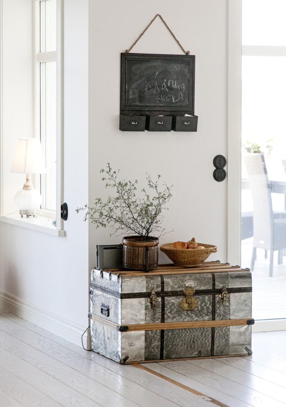En silverfärgad, gammal koffert får agera avlastningsbord till ett vackert stilleben i naturnära toner.