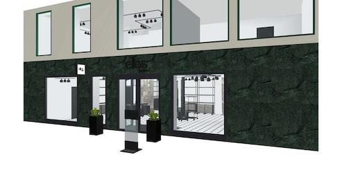 En ritning på entrén till nya butiken i Göteborg.