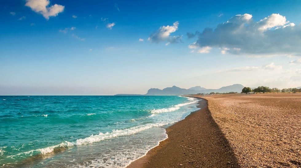 Afandou Beach, 20 kilometer söder om Rhodos stad.