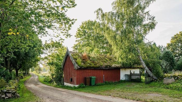 Torpet har ett litet bostadshus och en gammal ladugårdsbyggnad.