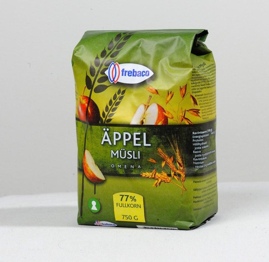 3 getingar. Märke: Äppelmüsli, Frebaco. Pris: Cirka 27 kronor för 750 g. Ulrikas omdöme: Synd att de använder veteflingor, majsmjöl, vetemjöl och socker. Inte så bra och det drar ner betyget!