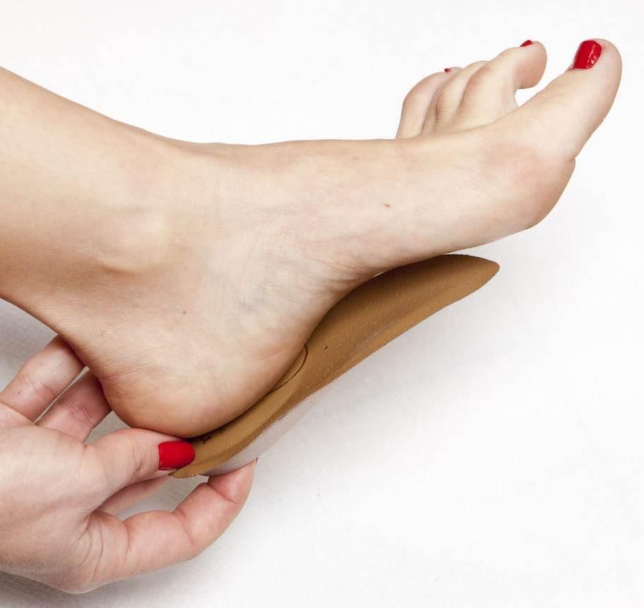 Hälsporre/plantarfasciitProblem: Hälsporre orsakar en stark smärta mitt under hälen som uppstår när den tjocka senan under foten överbelastas. Kroppen kan då reagera med att bilda en kalkpåbyggnad på hälen för att skydda det ömma området. Smärtan är värst de första stegen på morgonen.Lösning: Behandla med stötdämpande skor, personligt utformade och avlastande inlägg, speciell slagstejpning, stretchning av vaden, antiinflammatoriska läkemedel och kortisoninjektioner. Ibland används kirurgi.