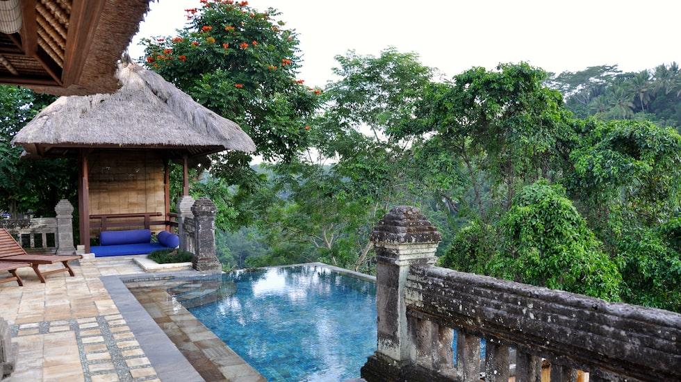 Infinitypoolen på Hotel Puri Wulandari, en bit utanför Ubud.