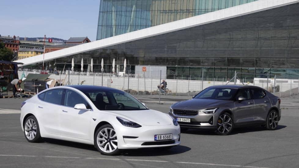 Duell mellan elbilarna: Tesla Model 3 möter Polestar 2