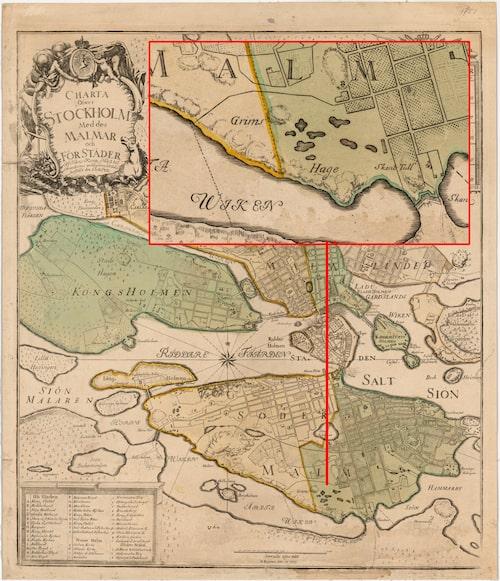 """På Georg Biurmans """"Charta Öfwer Stockholm Med des Malmar och Förstäder"""" från 1 juli 1751 är Grims hage utmärkt."""