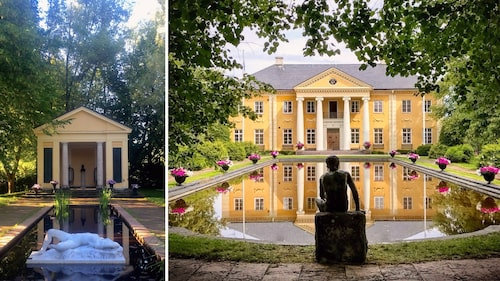 """Statyn """"Näckrosen i dammen"""" av Per Hasselberg är huggen i italiensk marmor, och Herrgården i Rottneros Park är förebilden till Ekeby i Selma Lagerlöfs epos """"Gösta Berlings saga""""."""