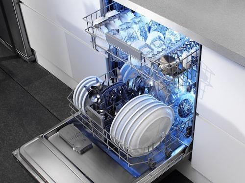 De flesta diskmaskiner har en kapacitet på 12-16 kuvert, och är lagom för en familj på ungefär fyra personer.