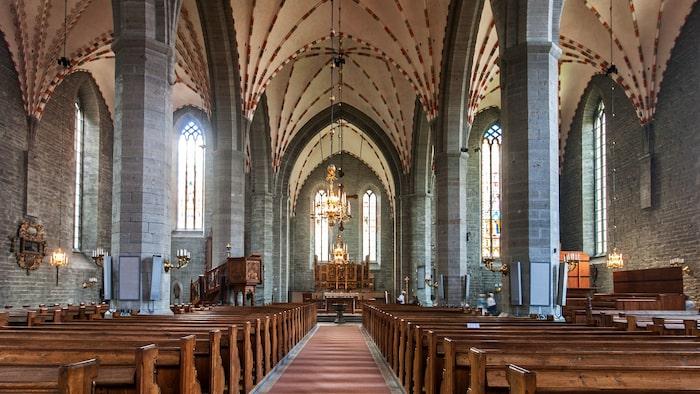 Vadstena klosterkyrka är en pampig konstruktion som bygger på Heliga Birgittas instruktioner.