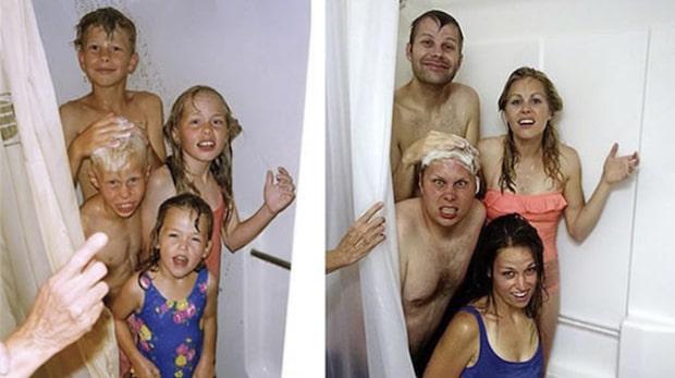 Syskon återskapar sina gamla bilder - det här borde du testa med din familj