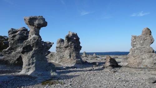 Folhammars raukområde med sina stenstoder.