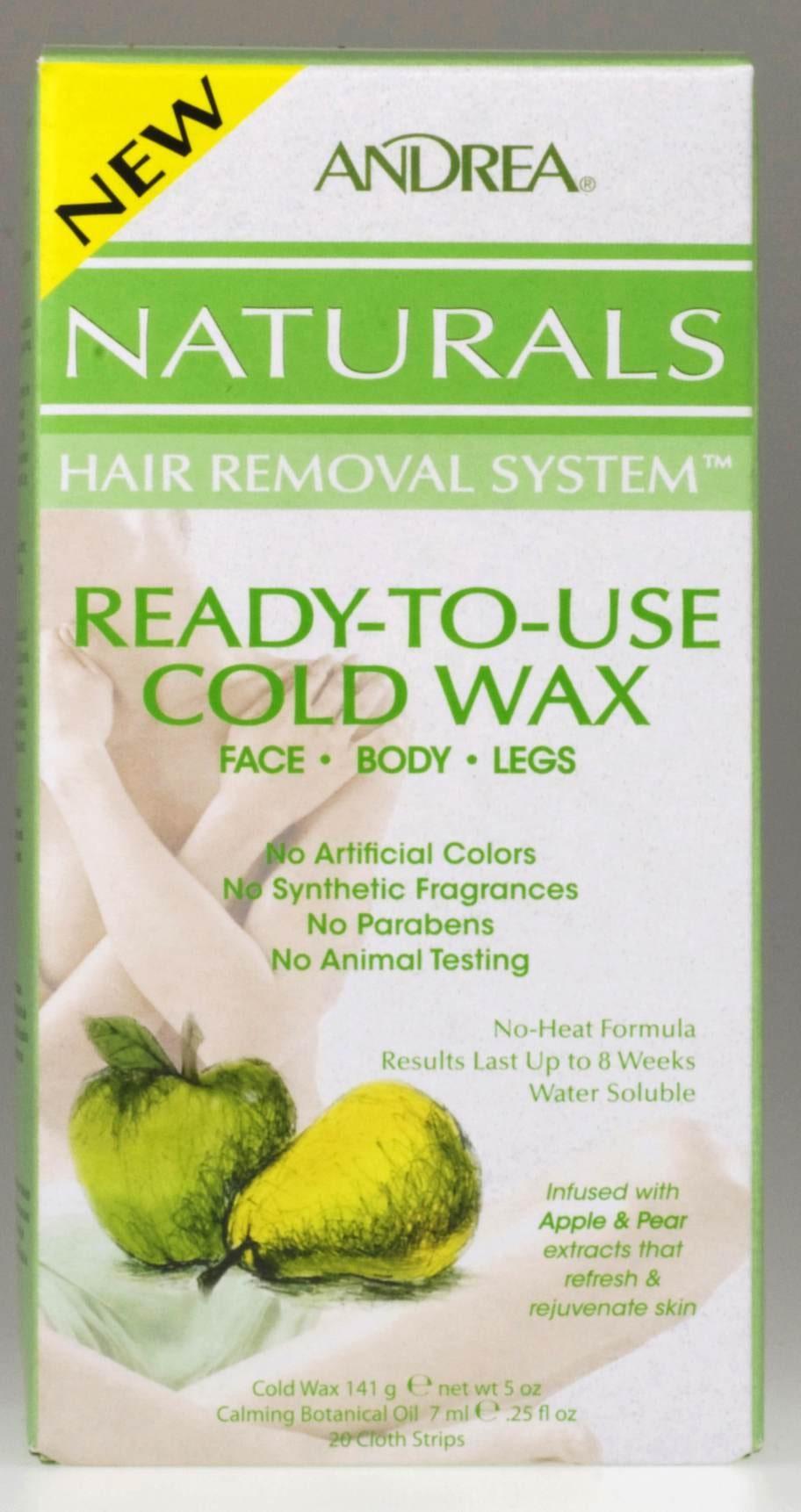 """<p><exp:icon type=""""wasp""""></exp:icon><exp:icon type=""""wasp""""></exp:icon><exp:icon type=""""wasp""""></exp:icon><exp:icon type=""""wasp""""></exp:icon><br><strong>Andrea Naturals. Naturals hair removal systems, 115 kronor.</strong><br>Ett kallvax för hemmabruk som är färdigt att använda. Bygger på naturliga fruktextrakt som är vattenlösligt vilket är bra då det ska sköljas bort.<br>Metod: Kallvax.</p>"""
